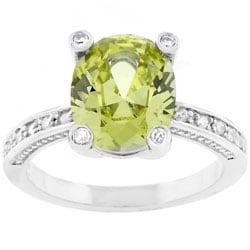 Kate Bissett Silvertone Oval-cut Green CZ Fashion Ring
