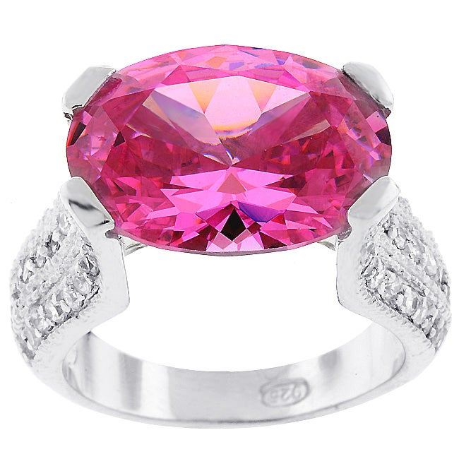 Kate Bissett SterlingSilver Pave Pink Cubic Zirconia Ring