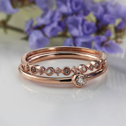 Auriya Chic Stackable Rings 1/6ctw Diamond Set of 2 10K Gold