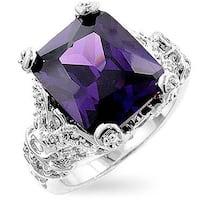Kate Bissett Silvertone Antique-Inspired Purple CZ Fashion Ring