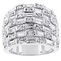 Kate Bissett Silvertone Wide Baguette Cubic Zirconia Ring