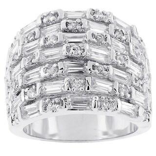 Kate Bissett Silvertone Wide Baguette Cubic Zirconia Ring