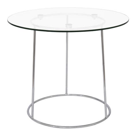 LeisureMod Jackson Round Chrome Glass Top Side End Table
