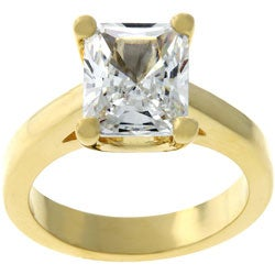 Kate Bissett Goldtone Emerald-cut Cubic Zirconia Solitaire Ring