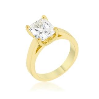 Kate Bissett Goldtone Emerald-cut Cubic Zirconia Solitaire Ring