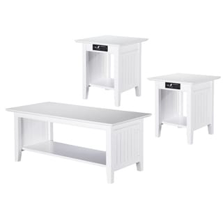 Nantucket 3-Piece Coffee Table Set with Charging Station
