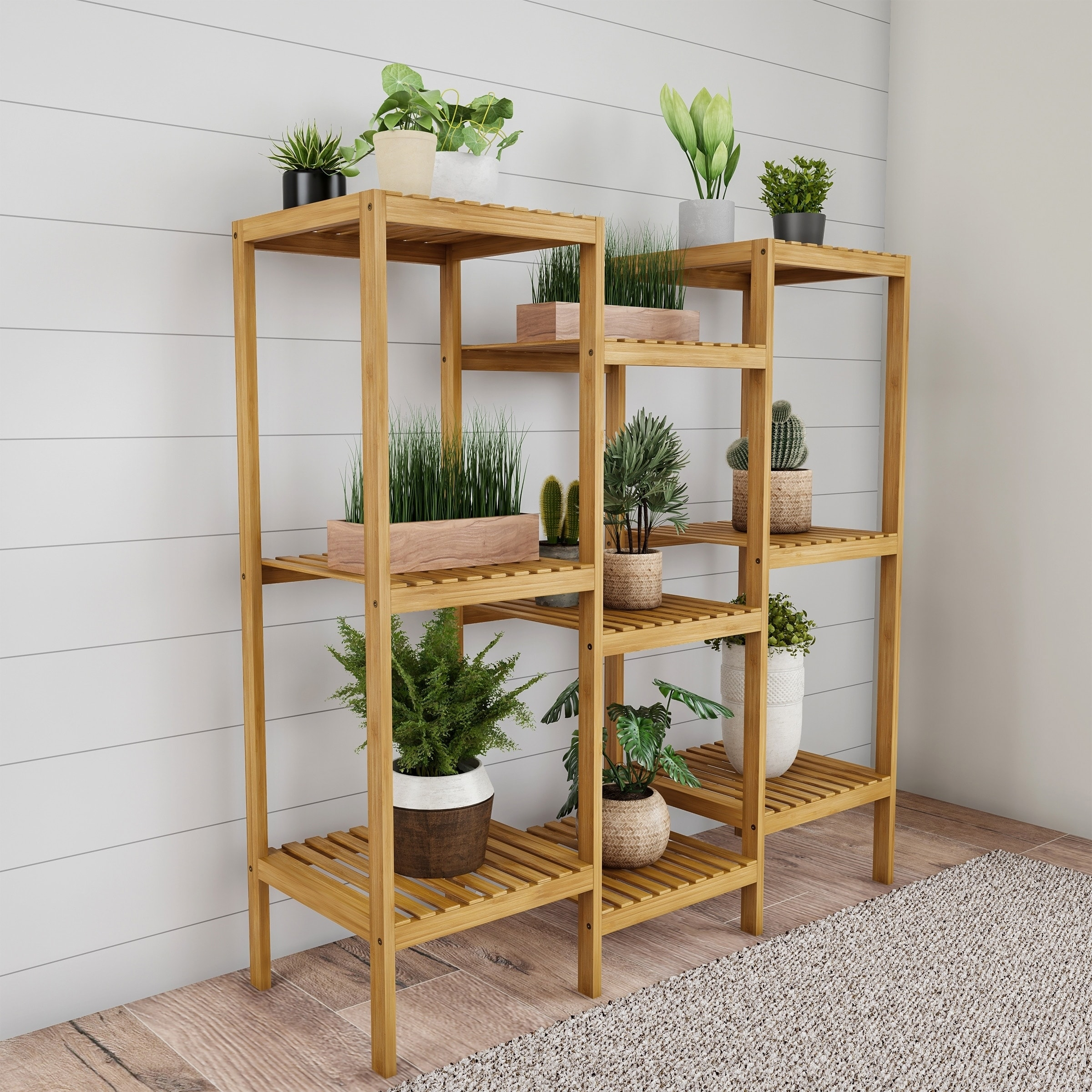 Vintas Multi Level 9 Shelf Bamboo Plant Stand By Havenside Home Overstock 30320371