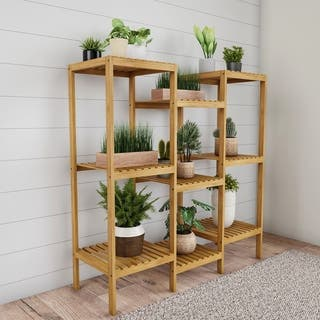 Multi-Level Freestanding 9 Shelf Bamboo Plant Stand by Pure Garden - 38.25 x 13 x 39.5