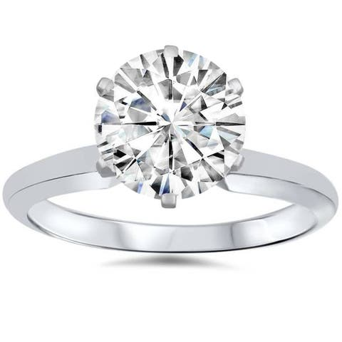 3 Ct Moissanite Solitaire Engagement Ring 14k White Gold