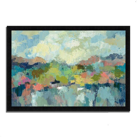 """Abstract Lakeside"" by Silvia Vassileva, Framed Painting Print"