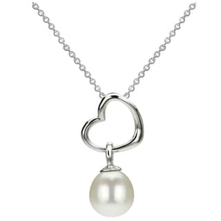 DaVonna Silver Heart Shape and White FW Pearl Drop Necklace (8-8.5 mm)