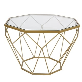 LeisureMod Malibu Modern Glass Top Coffee Table with Gold Geometric Base