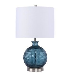 "Link to 21.5"" Sapphire Blue Glass W/ White Fabric Drum Shade W/ Brushed Nickel Finish Similar Items in Table Lamps"
