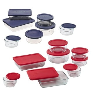 Pyrex Meal Prep Simply Store Glass Rectangular and Round Food Container Set, 30-Piece, VALUE PACK