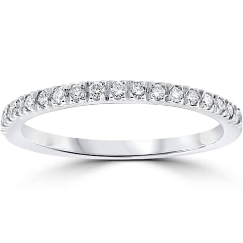 1/4 ct Pave Lab Created Diamond Wedding Ring 14K White Gold