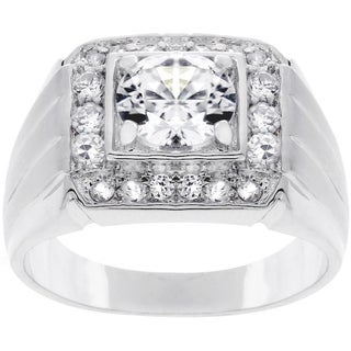 Silvertone Men S Square Top Cubic Zirconia Ring