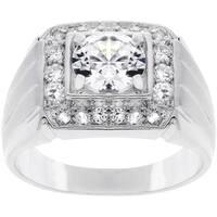 Silvertone Men's Square Top Cubic Zirconia Ring