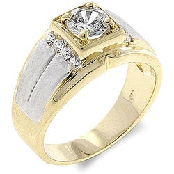 Kate Bissett Men's Two-tone Cubic Zirconia Ring (5 options available)