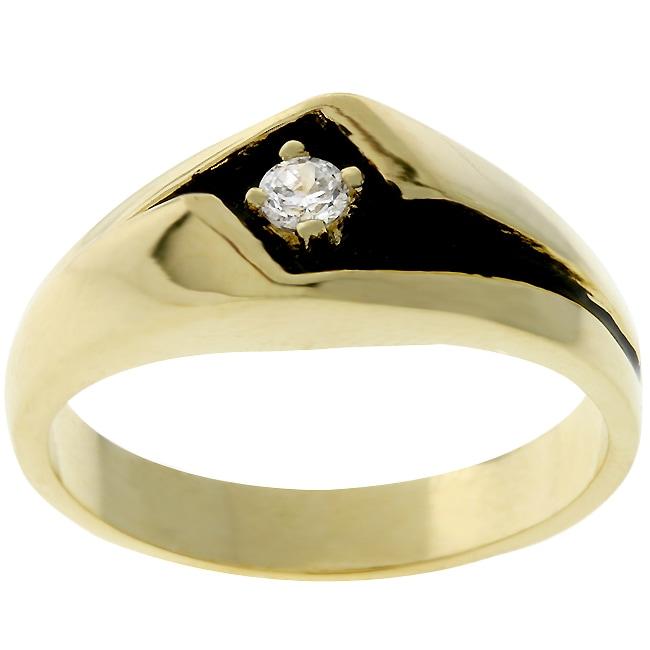 Kate Bissett Men's Goldtone Black Enamel CZ Ring