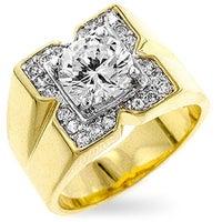 Shop Kate Bissett Goldtone Nautical-themed Enamel CZ Men's Ring - On