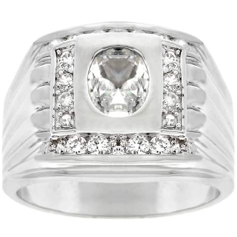 Kate Bissett Silvertone Square-top Oval-cut Men's CZ Ring