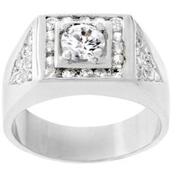 Kate Bissett Men's Silvertone Geometrical Design CZ Ring