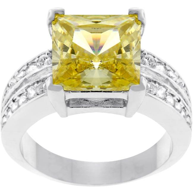 Kate Bissett Silvertone Princess-cut Yellow CZ Ring