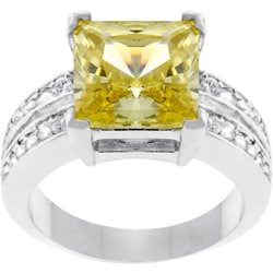Kate Bissett Silvertone Princess-cut Yellow CZ Ring