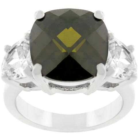 Kate Bissett Silvertone Cushion-cut Olive CZ Ring