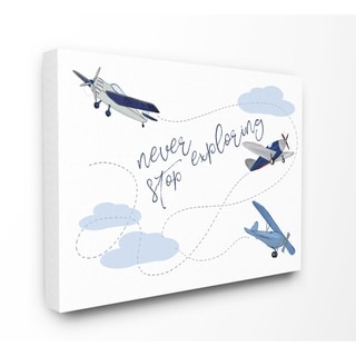 Taylor & Olive Blue/ White Never Stop Exploring Canvas Art