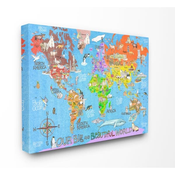 The Kids Room by Stupell Our Big Beautiful World Map , Proudly Made in USA  - 30 x 40