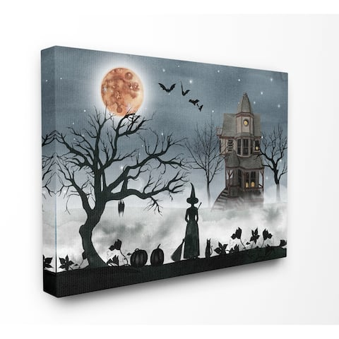 Stupell Industries Halloween Witch Silhouette in Full Moon Haunted House Scene, Proudly Made in USA - 36 x 48