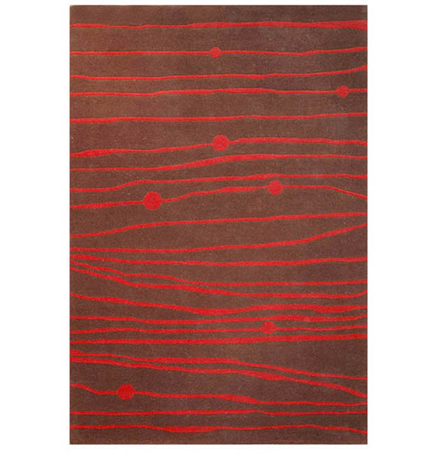 Hand-tufted Red Zoom Wool Rug - 8'9 x 13'