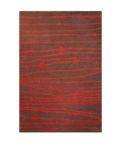 Hand-tufted Red Zoom Wool Rug - 8'9 x 13' - Thumbnail 0
