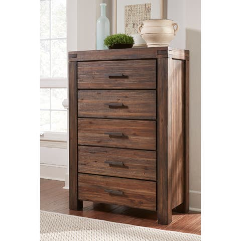 Meadow Five Drawer Solid Wood Chest in Brick Brown