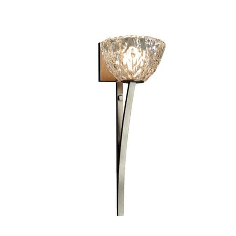 Veneto Luce Collection Sabre 1-light Brushed Nickel Wall Sconce, Clear Textured Shade