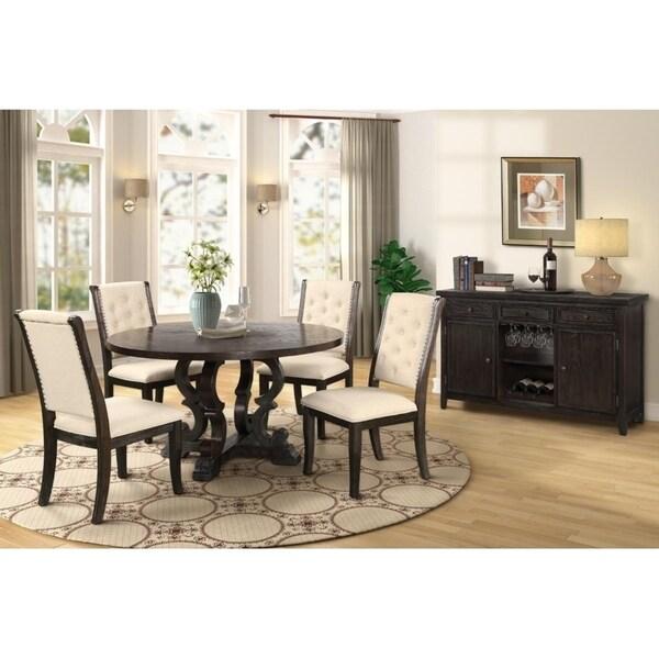 Best Master Furniture 5 Pieces Round Rustic Dark Brown Dinette Set