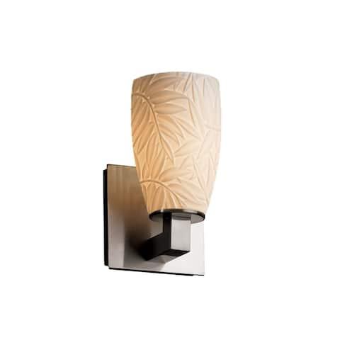 Limoges Modular 1-light Brushed Nickel Wall Sconce, Bamboo Impression Shade
