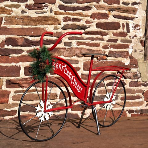 "Large Iron ""Merry Christmas"" Bicycle Decor"