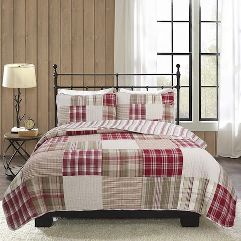 Cozy Line Alivia Red Plaid Real Patchwork Cotton Reversible Quilt Set