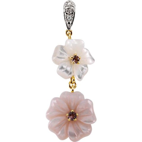 Curata 14k Yellow 5 Dwt Gen Pink Tourmaline Simulated Mother of Pearl and Diamond Pendant