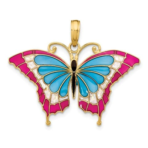 Curata 14k Yellow Gold Solid Polished Translucent Blue Stained Glass Wings Butterfly Pendant