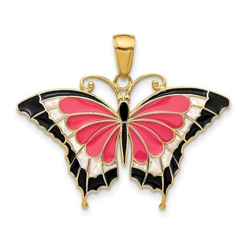 Curata 14k Yellow Gold Solid Polished Translucent Purple Stained Glass Butterfly Pendant