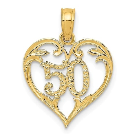 Curata 14k Yellow Gold Solid Polished Open back 50 in Heart Cut-out Pendant - Measures 19.4x14.1mm