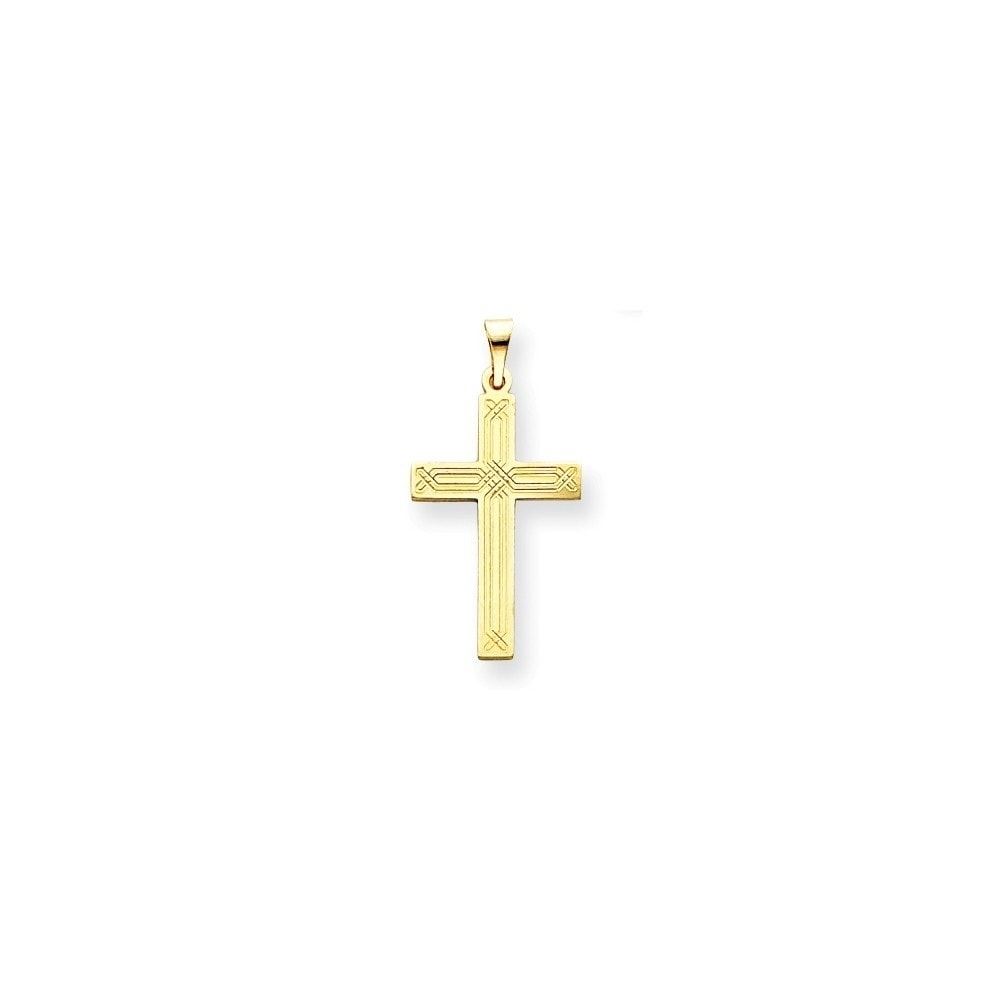 FB Jewels Solid 14K White Gold Polished Cross Pendant