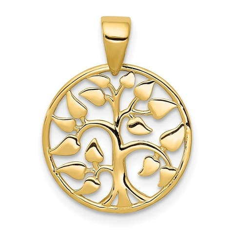 Curata 14.6mm 14k Gold Polished Tree In Circle Pendant