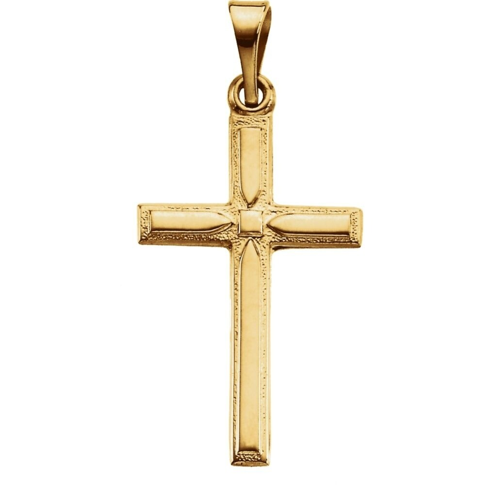 14K Yellow Gold 13x8.5mm Cross pendant
