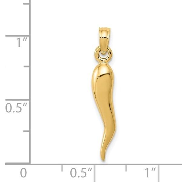 FB Jewels 10K Yellow Gold Medium Italian Horn Pendant