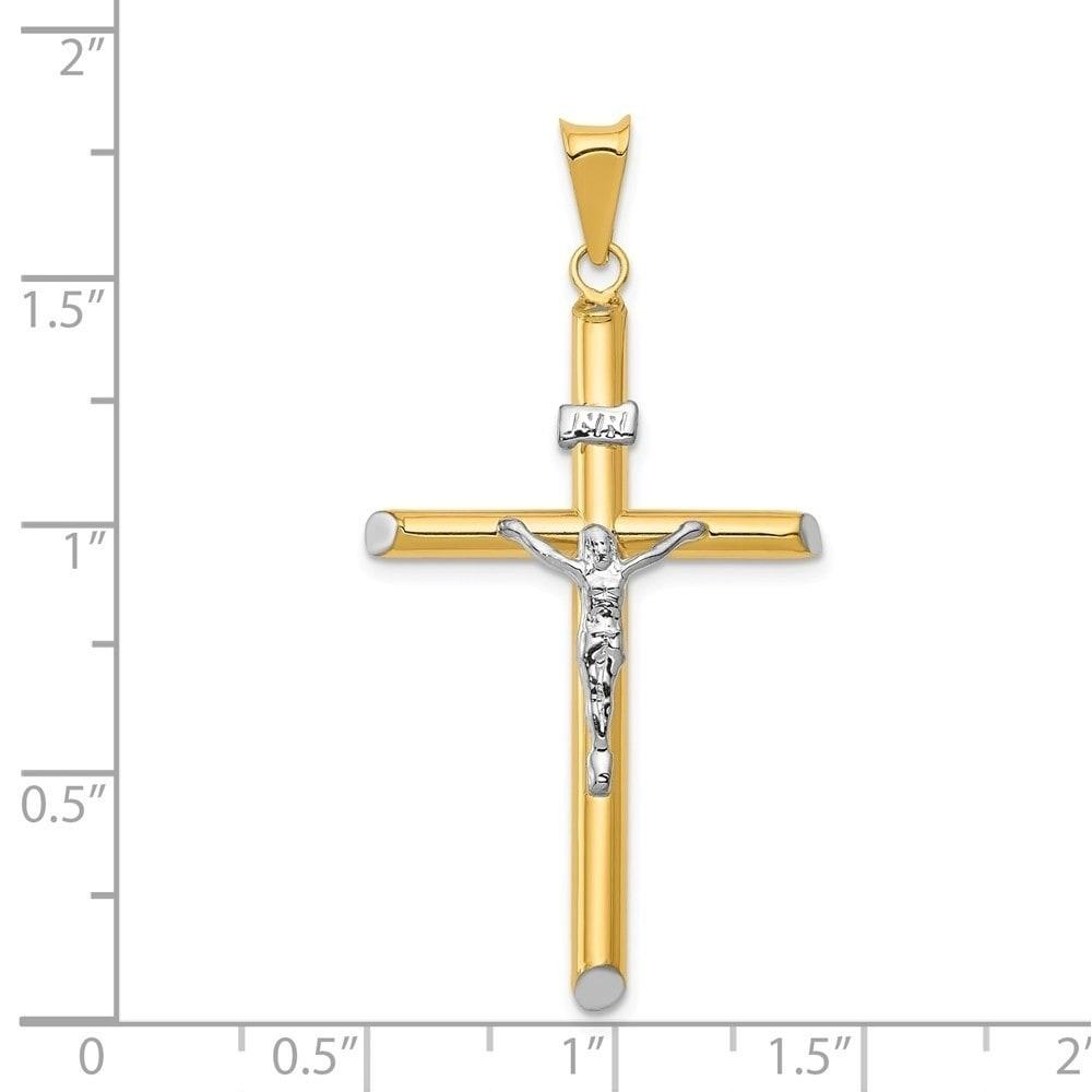 14k Two-tone INRI Hollow Crucifix Pendant