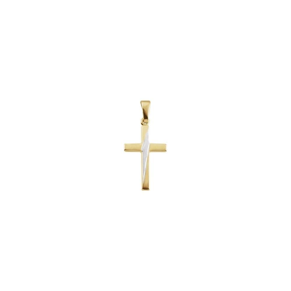 24mm x 12mm Solid 14k Yellow Gold Cross Pendant Charm